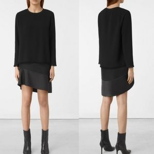 All Saints Black Teired Asymmetrical Frayed Dress
